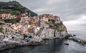 Manarola, Cinque Terre, Italia, Mar Ligure, Manarola, Cinque Terre, Italia, Mar Ligure, Rocce, mare, costruzione, paesaggio, costa