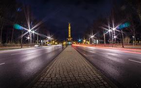 Tiergarten, Berlino, stradale, notte