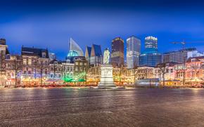 Haga, Niderlandy, miasto, noc