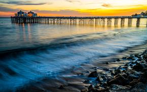 Malibu, закат, море, волны, берег, скалы, пирс, пейзаж