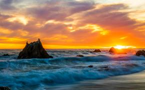 Malibu, sunset, sea, waves, shore, Rocks, landscape, panorama
