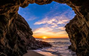 马里布, 日落, 海, 波浪, 岸, 岩石, 拱, 景观