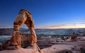 Delicate Arch, sunset, Mountains, Rocks, arch, landscape