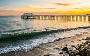 Malibu, sunset, sea, waves, shore, PEARCE, landscape, panorama