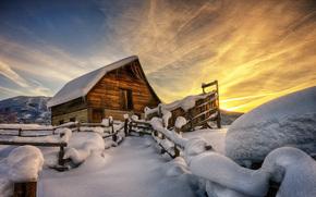 закат, зима, забор, дом, снег, горы, пейзаж