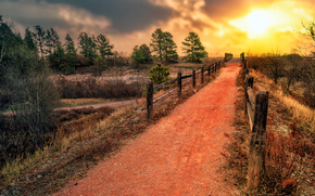 sunset, road, trees, fence, landscape, Colorado