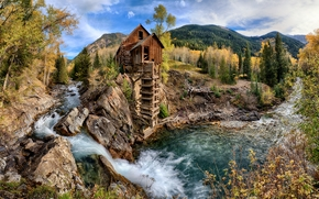 Crystal Mill, Colorado, autumn, trees, landscape