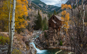 Crystal Mill, Colorado, trees, river, waterfall, Rocks, landscape, autumn