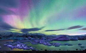Исландия, северное сияние, полярное сияние, ночь, льды, лед, ледник, льдины, водоем