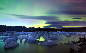 Islanda, aurora boreale, Luci Polar, notte, ghiaccio, gelato, ghiacciaio, lastra di ghiaccio galleggiante, pond