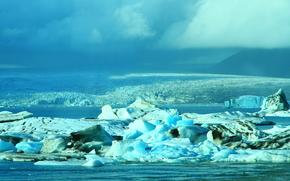 Исландия, льды, лед, ледник, льдины, водоем, зима