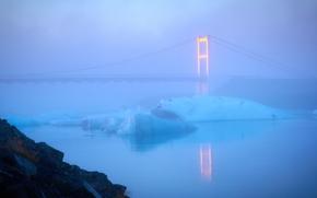 Islanda, ghiaccio, gelato, ghiacciaio, lastra di ghiaccio galleggiante, pond, ponte, inverno