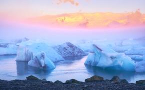 Islanda, ghiaccio, gelato, ghiacciaio, lastra di ghiaccio galleggiante, pond, inverno