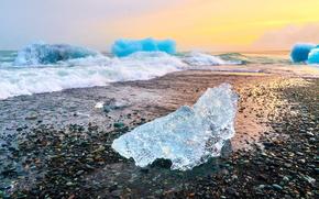 Islândia, gelo, gelo, geleira, campo de gelo, lagoa, inverno