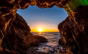 Malibu, sunset, sea, waves, shore, Rocks, arch, landscape