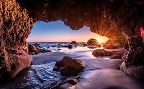 Malibu, puesta del sol, mar, ondas, costa, Rocas, arco, paisaje