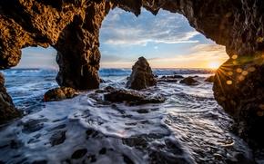 Malibu, zachód słońca, morze, fale, Brzeg, Rocks, łuk, krajobraz
