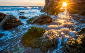 Malibu, закат, море, волны, берег, скалы, арка, пейзаж