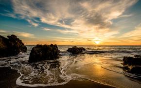 Malibu, закат, море, волны, берег, скалы, пейзаж