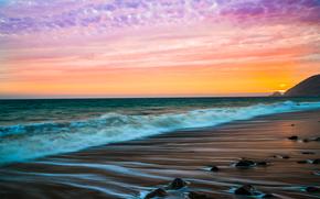 Malibu, закат, море, волны, берег, пейзаж