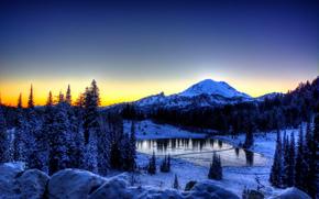 sunset, winter, Mountains, trees, lake, landscape