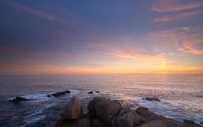 закат, море, скалы, пейзаж
