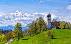 Germany, Bayern, Hills, church, trees, road, landscape