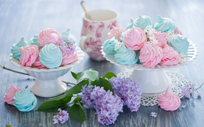 sweet, sweets, dessert, meringue, food, crockery, lilac