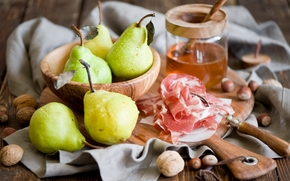 pears, meat, crockery, fruit, food, nuts