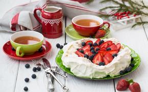 nourriture, desserts, BERRY, fraises, crème, thé, bonbons