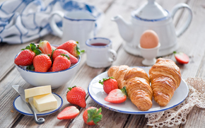 food, croissants, baking, BERRY, strawberries, tea