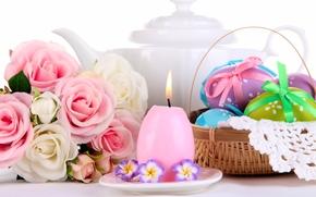 Wielkanoc, jajka, Krashenki, świeca, bukiet, Kwiaty, Roses, koszyk