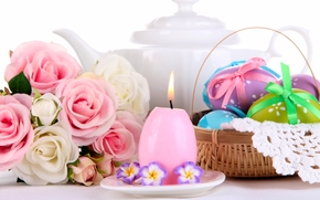 Pasqua, uova, Krashenki, candela, bouquet, Fiori, Roses, cestino