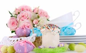 Пасха, крашенки, яйца, кулич, цветы, розы, букет, корзинка