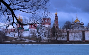 Novodevichy Convent, Moscow, Russia, Moscow River, monastery, river, winter, tree, BRANCH