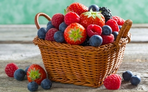 basket, BERRY, strawberries, blueberry, raspberries