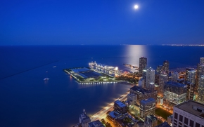 Streeterville, Chicago, Illinois, Lake Michigan, Stritervill, Chicago, Illinois, Lake Michigan, city ​​nightlife, lake, coast, building, Skyscrapers