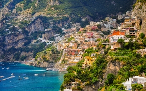 Positano, Campania, Italy, Amalfi Coast, Gulf of Salerno, Позитано, Кампания, Италия, Амальфитанское побережье, Салернский залив, море, залив, побережье, здания, лодки, склон