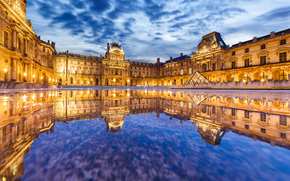Louvre, Paris, France, Louvre, Paris, France, palace, museum, building, water, reflection