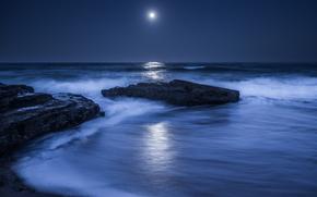 mare, oceano, pond, pietre, cielo, Rocce, notte