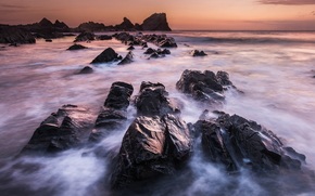 sea, ocean, pond, stones, sky, Rocks