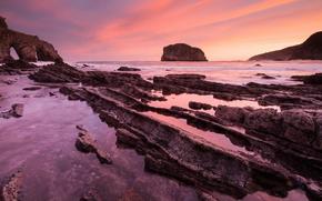 mare, oceano, pond, pietre, cielo, Rocce, tramonto