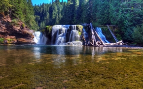 Lower Lewis River Falls, Lewis River, Washington, Fluss, Wald, Bäume, Landschaft