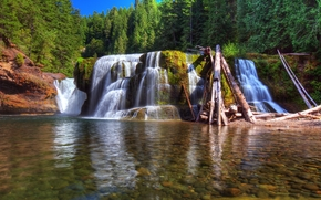 Lower Lewis River Falls, Lewis River, Washington, river, forest, trees, landscape