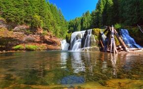Bajo Lewis River Falls, Lewis River, Washington, río, bosque, árboles, paisaje