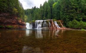 Basse Lewis River Falls, Lewis rivière, Washington, rivière, forêt, arbres, paysage