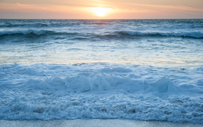sunset, sea, shore, waves, foam, landscape