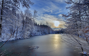 закат, зима, озеро, деревья, пейзаж