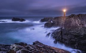 sea, ocean, pond, stones, sky, Rocks, lighthouse