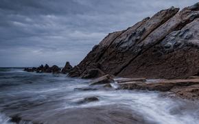 море, океан, водоем, камни, небо, скалы